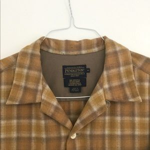 Pendleton Wool Tan Plaid Board Shirt M